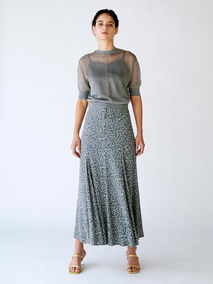 クルミ釦マチ入りロングスカート(BLU-0)