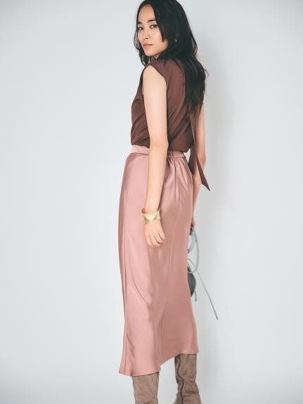 サテンタックナロースカート