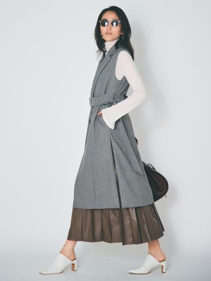 ピンタックプリーツレザースカート(MOC-0)