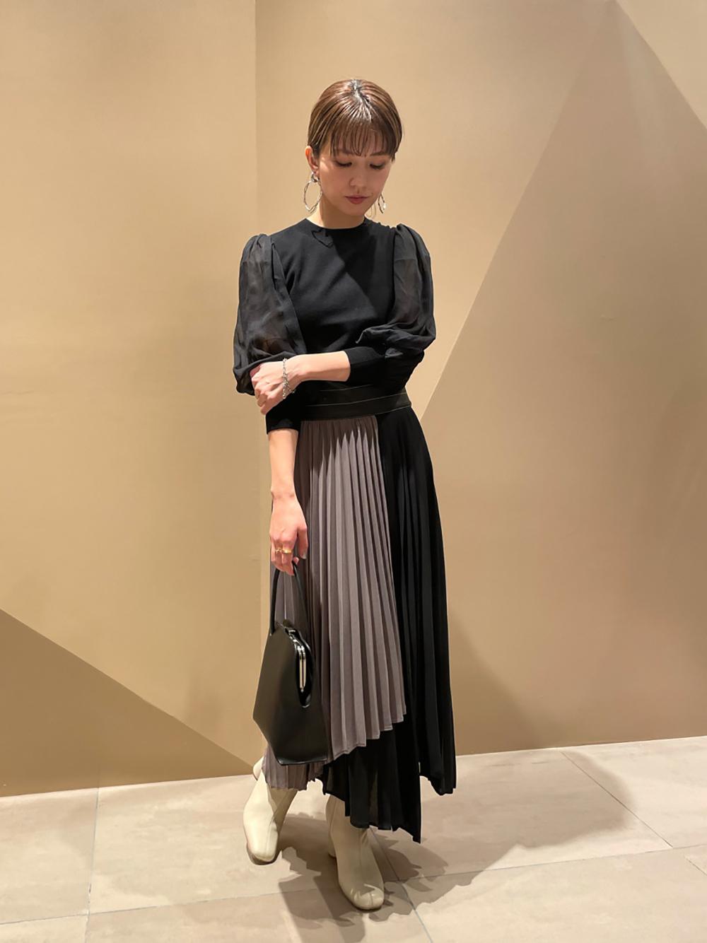 プリーツバイカラースカート(GRY-0)