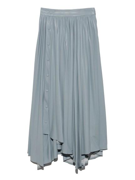 フェイクレザー プリーツスカート(BLU-0)