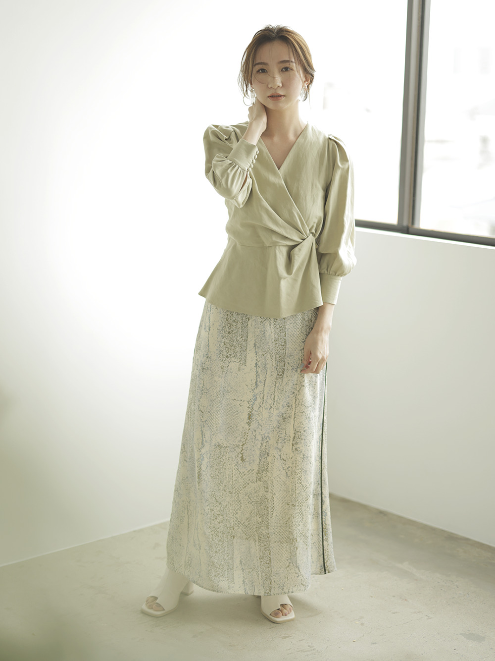 サイドラインプリントナロースカート(YEL-0)