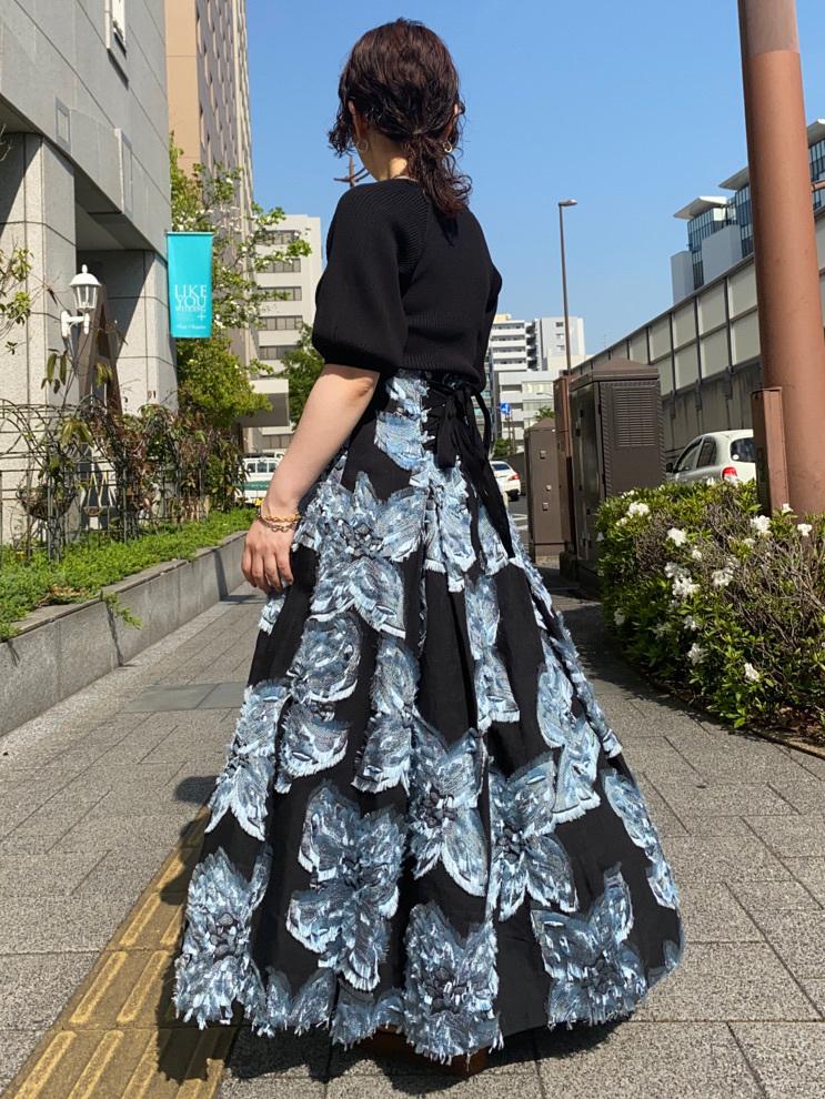 メッシュフラワージャガードスカート(BLU-0)