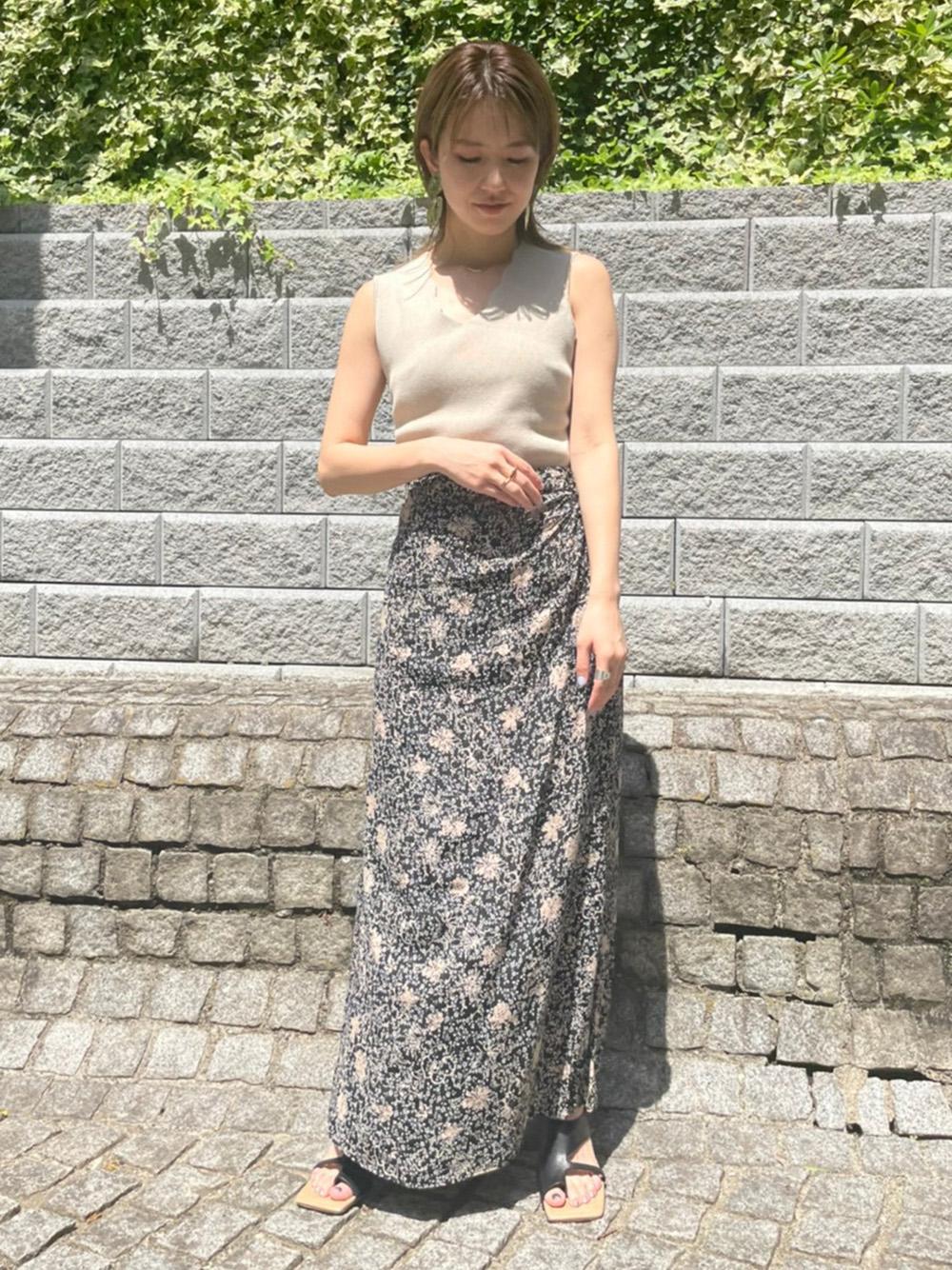 プリントギャザーナロースカート
