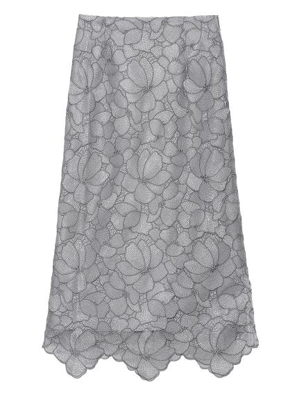 シアーラメフラワーレーススカート(GRY-0)