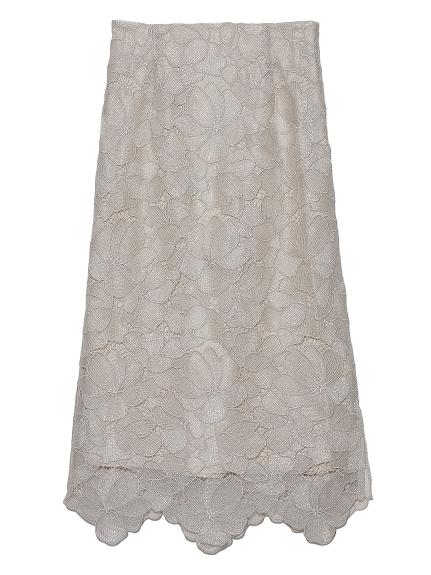 シアーラメフラワーレーススカート(BEG-0)