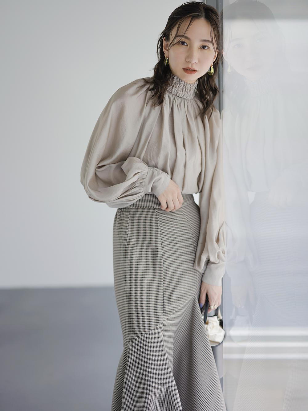 ラッフルアシメマーメイドスカート(CHECK-0)