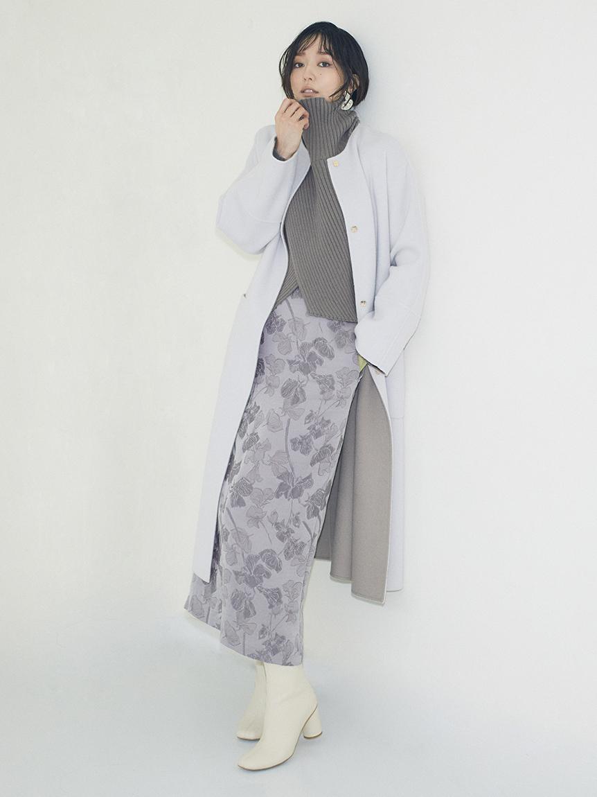 ウールジャガードスカート(GRY-0)