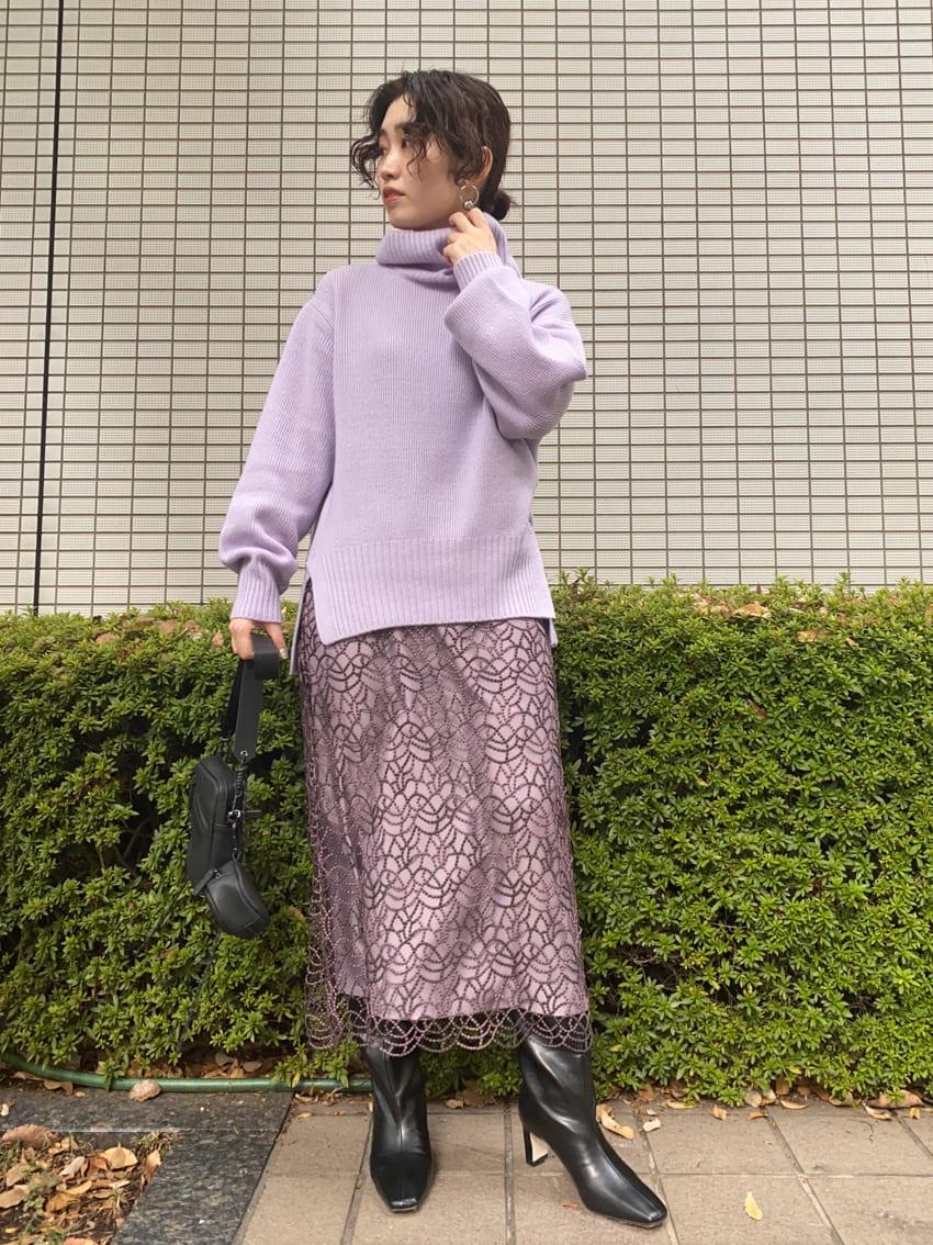 ブライトラメレースナロースカート(WINE-0)