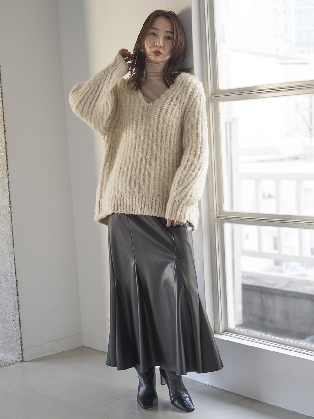 【00サイズ展開】アシメマチ切替マーメイドスカート(BLK-0)