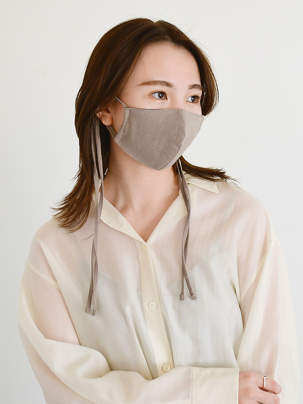 リネン混ストラップマスク