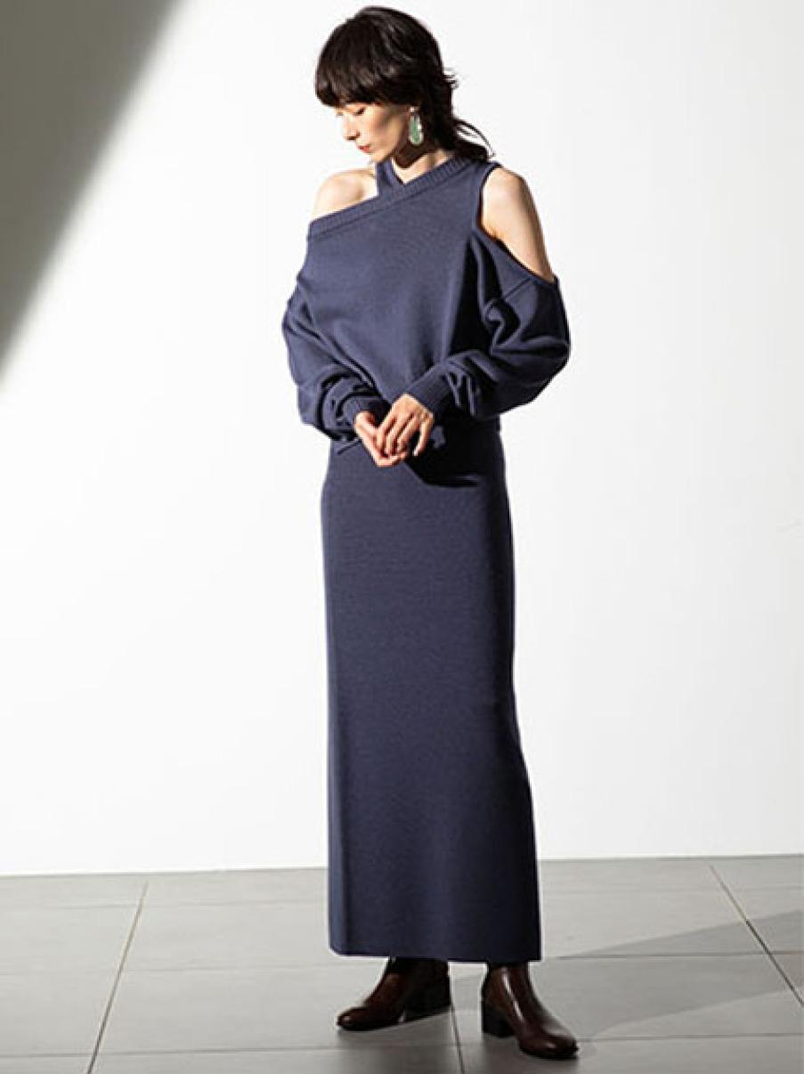 スリットニットスカート(BLU-F)
