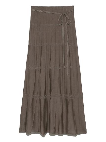 柄編みニットナロースカート