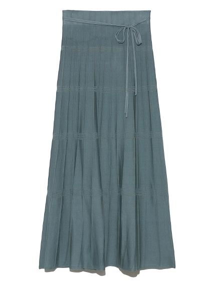 柄編みニットナロースカート(BLU-F)