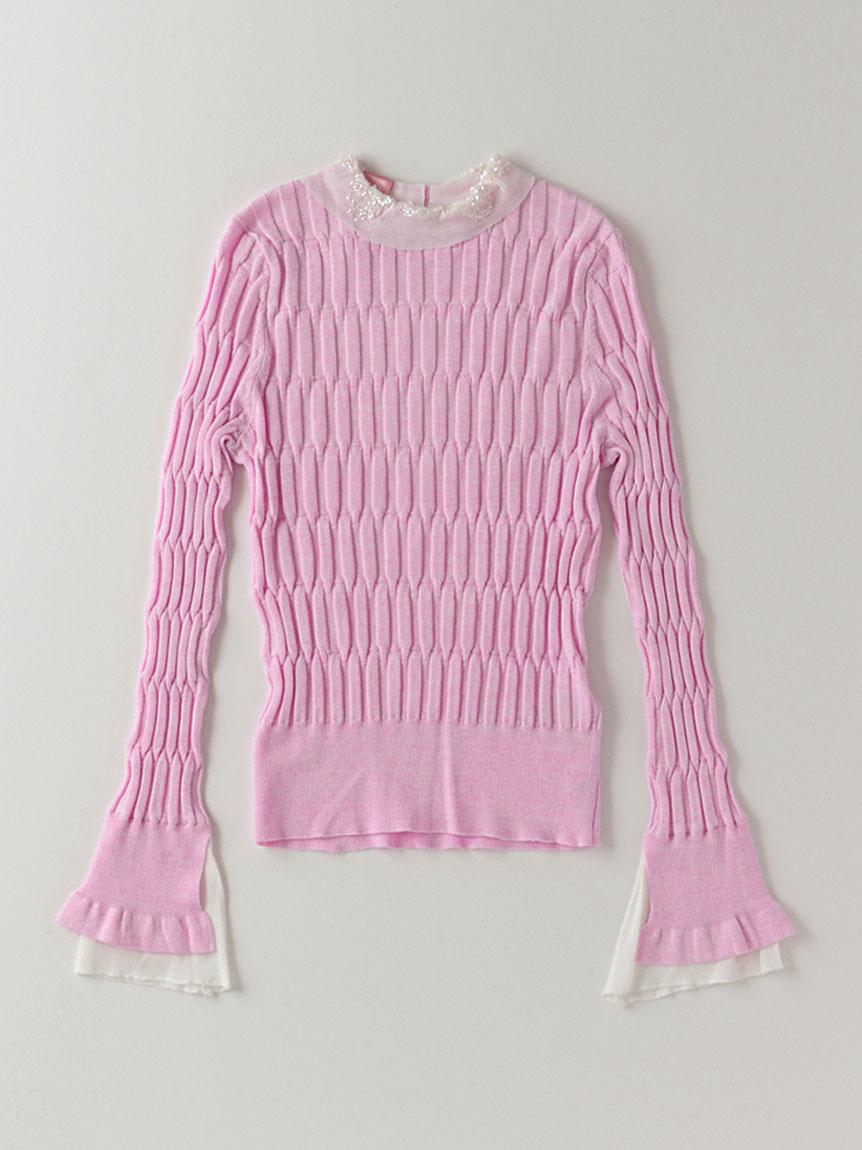 キラキラ襟リブセーター