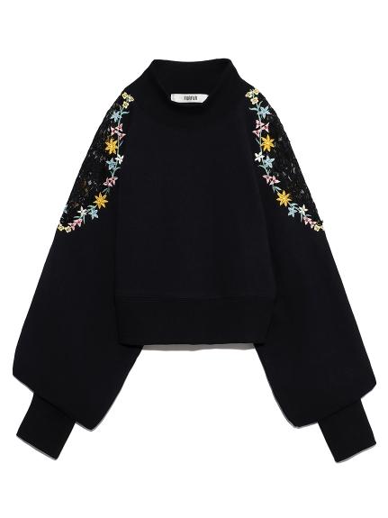 花刺繍スウェット(BLK-F)