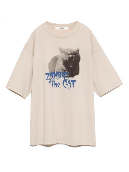ゾンビキャットTシャツ(BEG-F)