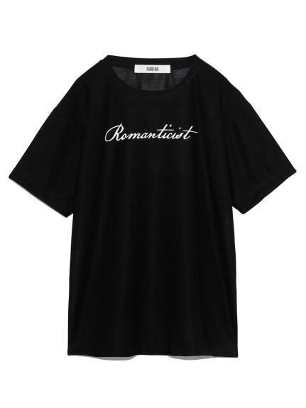 プリント入りシアーTシャツ(BLK-F)