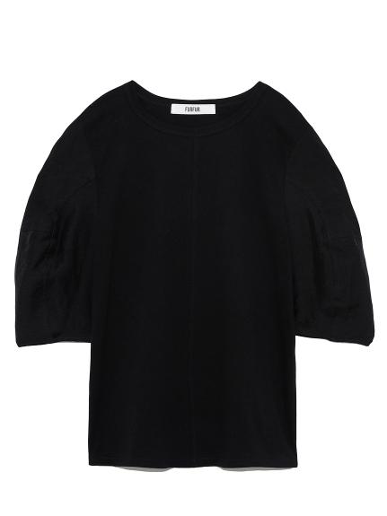 袖シアーカットプルオーバー(BLK-F)