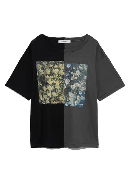 ハーフデザインプリントTシャツ(BLK-F)