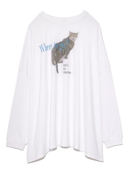 猫プリントオーバーサイズ長袖T