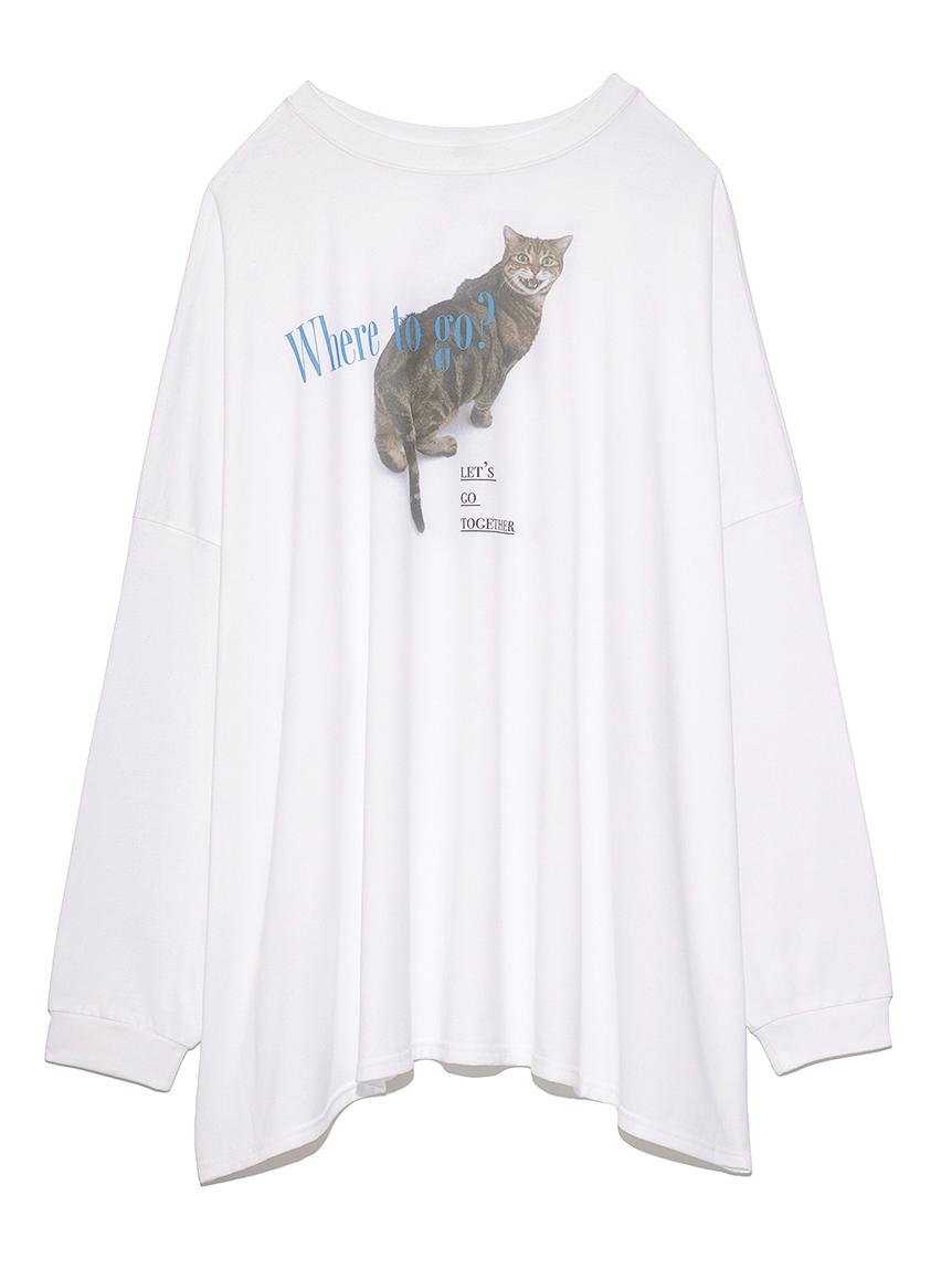 猫プリントオーバーサイズ長袖T(OWHT-F)