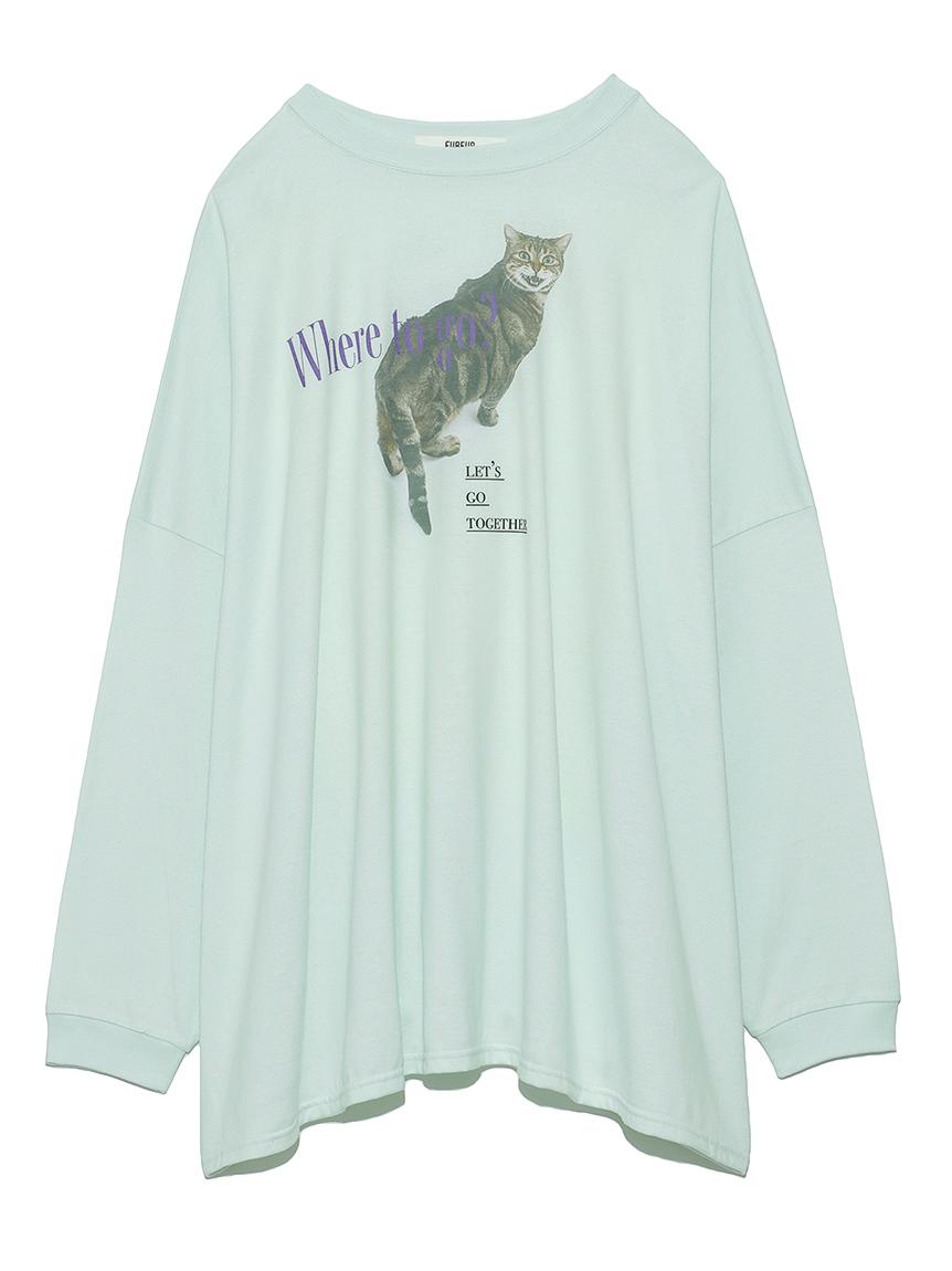 猫プリントオーバーサイズ長袖T(MNT-F)