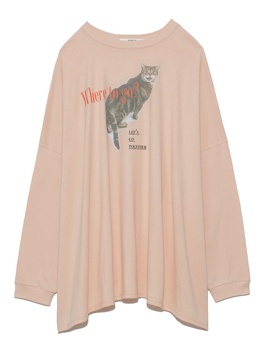 猫プリントオーバーサイズ長袖T(PNK-F)