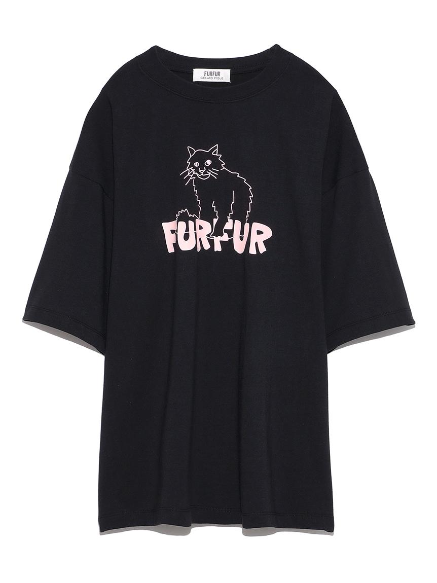 【FURFUR×gelato pique】アブストラクトTシャツ(BLK-F)