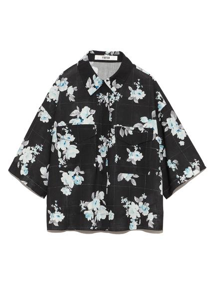 【限定】フラワーラインチェックシャツ(BLK-F)