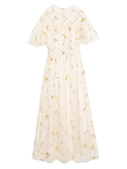 マリンモチーフ刺繍ドレス(IVR-F)
