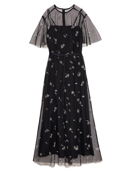 マリンモチーフ刺繍ドレス(BLK-F)