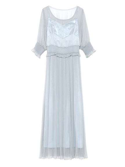 スモッキングプリーツドレス(BLU-F)