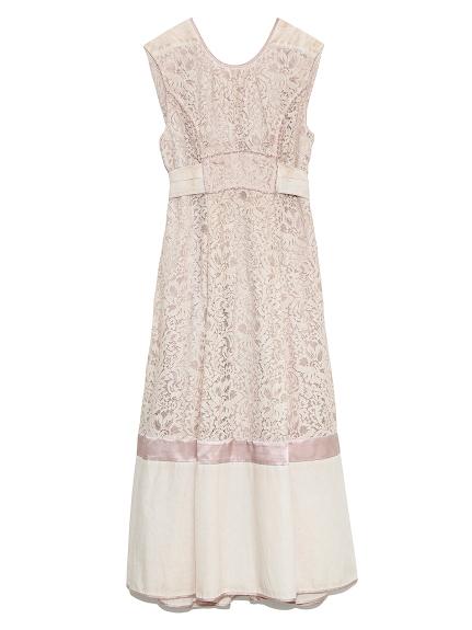 タックノースリーブレースドレス