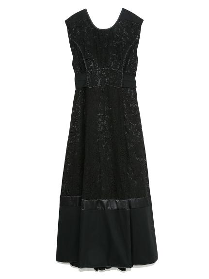 タックノースリーブレースドレス(BLK-F)