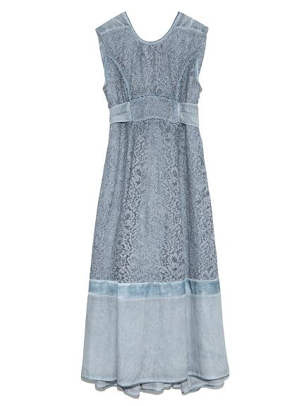 タックノースリーブレースドレス(SAX-F)