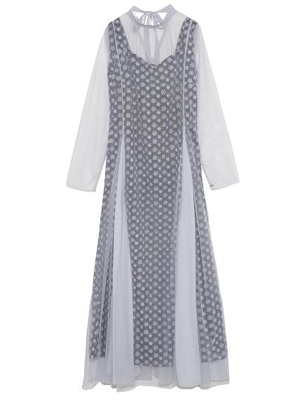 フラワー刺繍ロングドレス(LGRY-F)