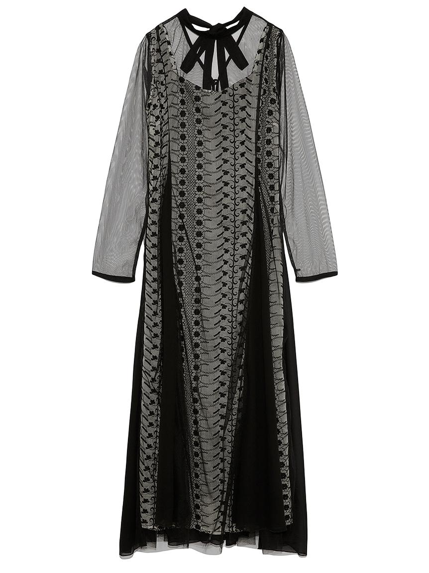 フラワー刺繍ロングドレス(BLK-F)