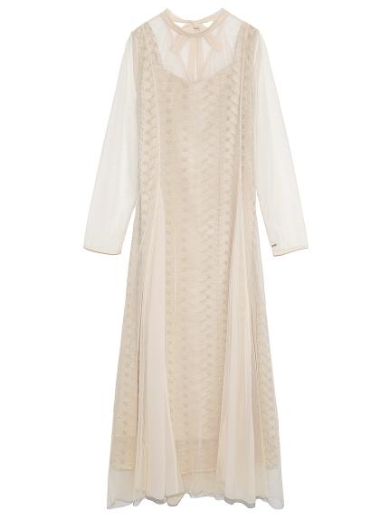 フラワー刺繍ロングドレス(BEG-F)