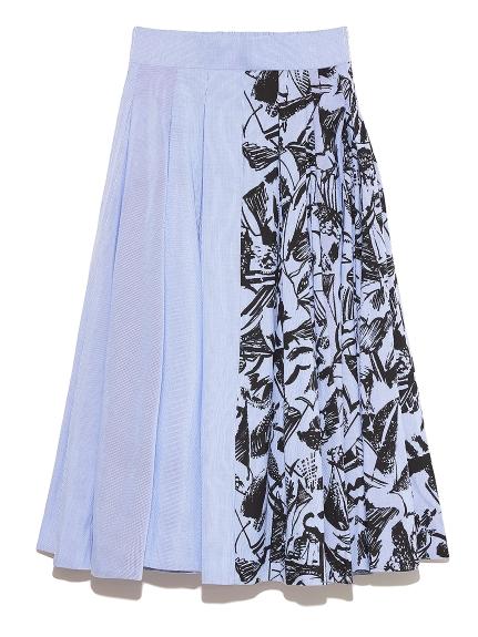 ドローイングプリントスカート(BLU-F)