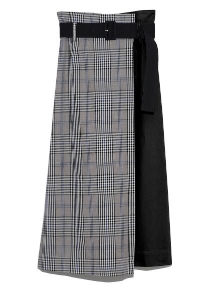 ベルト付ロングタイトスカート