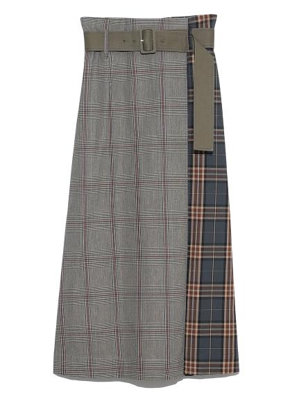 ベルト付ロングタイトスカート(CHECK-F)