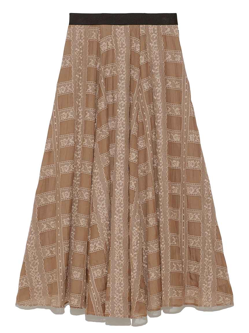 格子レース刺繍スカート