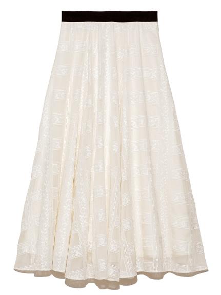 格子レース刺繍スカート(OWHT-F)