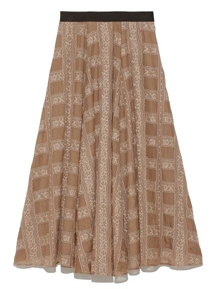 格子レース刺繍スカート(BRW-F)