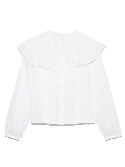 カットワーク刺繍衿ブラウス(WHT-F)