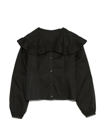 カットワーク刺繍衿ブラウス