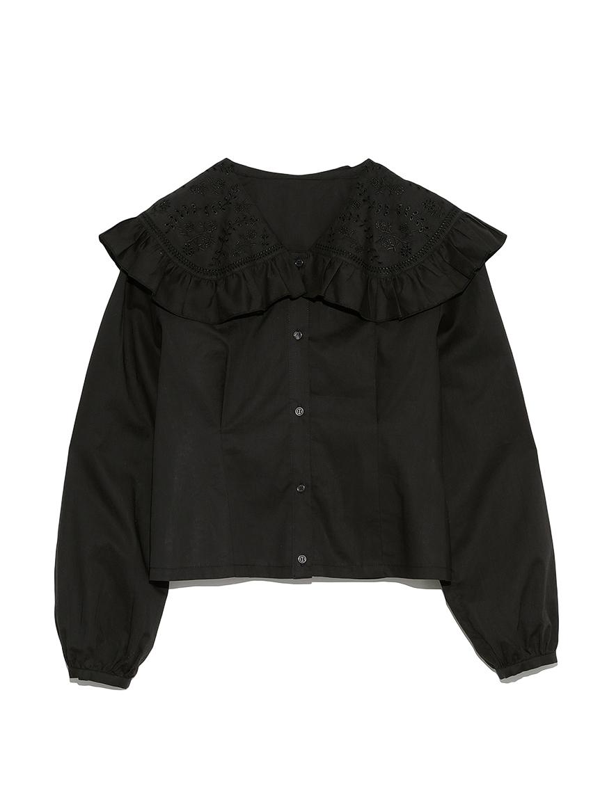 カットワーク刺繍衿ブラウス(BLK-F)