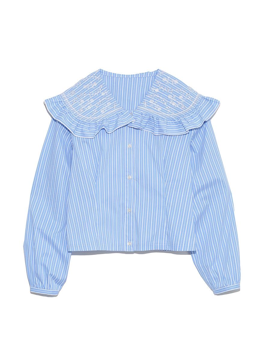 カットワーク刺繍衿ブラウス(BLU-F)
