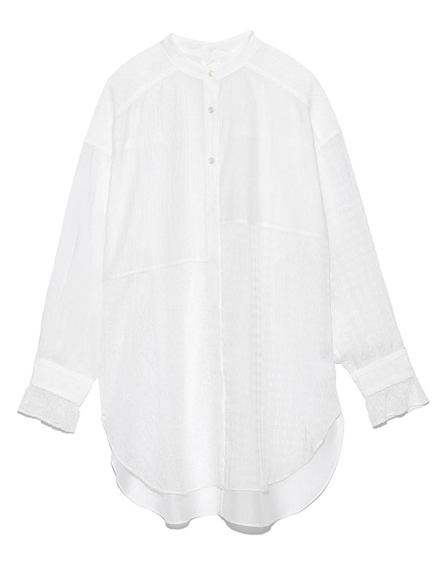 ミックスバンドカラーレースシャツ(WHT-F)